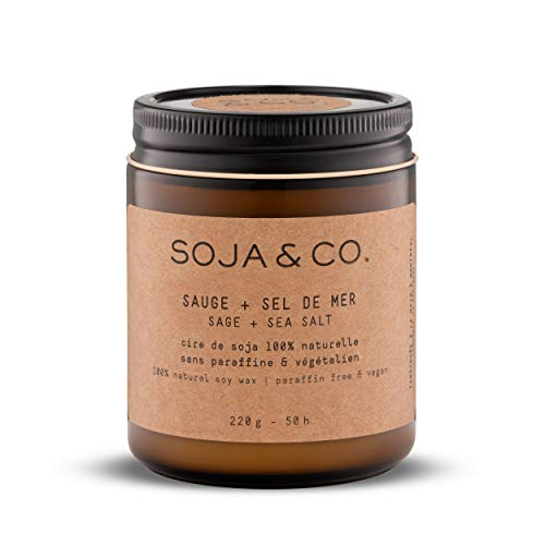 SOJA&CO. Scented Candles for Home Soy Wax Candle in Glass Jar, Long Burning Glass Jar Soy Fragrance Candles… (Sauge + Sel de mer/Sage + Sea Salt Aroma…, 8oz)