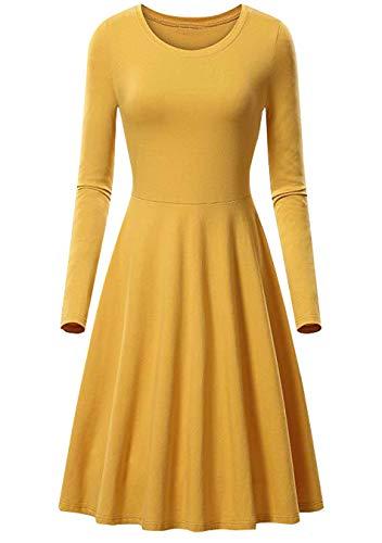 EFOFEI Damen A Line Kleid Langarm Midikleid Vintage Solid Kleid Gelb