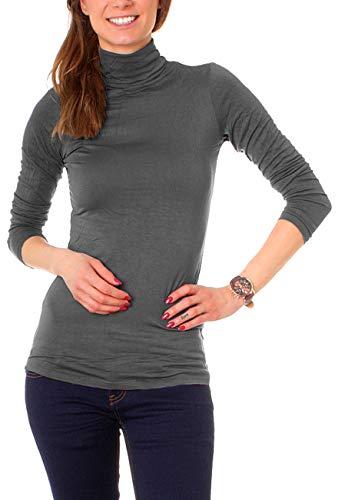 Easy Young Fashion Basic Damen Rollkragen Jersey Shirt Unterzieher Longsleeve Enganliegend Langarm Einfarbig One Size Dunkelgrau