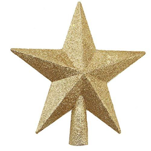 Stella Puntale dell'albero di Natale Decorazione natalizia Pvc 20 centimetri accessori glitter Xmas Tree Top Ornamento Festival, d'oro