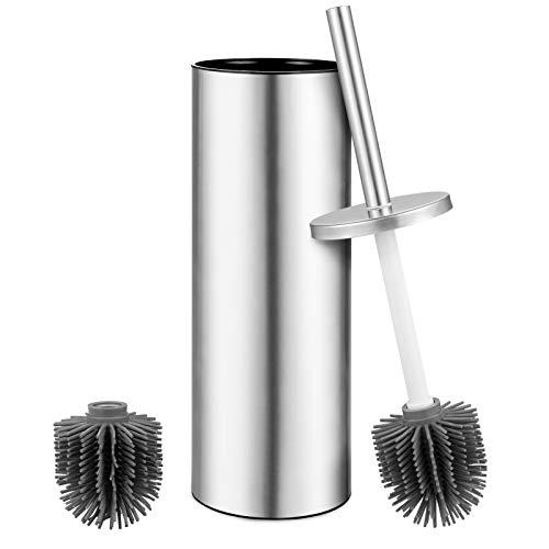 Toilettenbürstenhalter Edelstahldeckel mit 2 Gummi (TPR) Bürstenkopf für eine dauerhafte Tiefenreinigung des Badezimmers