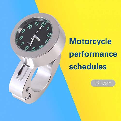 Reloj de montaje en manillar, reloj de manillar, práctico aluminio Billet de alta gama resistente a los golpes 1 pieza Silver Chopper Motorcycle Cruiser para Custom