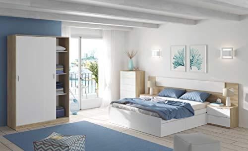 Miroytengo Pack Dormitorio Completo Alaya Color Blanco y Roble para Camas 150 cm (Cama+cabecero+2 mesitas+Armario+sinfonier)