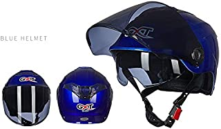 Leoie Unisex Summer Motorcycle Helmet Double Lens Sunscreen Half Helmet Blue Transparent