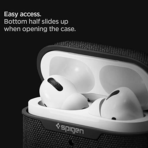 【Spigen】AppleAirPodsProケースカバーカラビナリング付き収納ケース衝撃吸収軽量キズ防止耐衝撃ワイヤレス充電対応シンプルエアポッズプロケースシュピゲンアーバン・フィットASD00572(ブラック)
