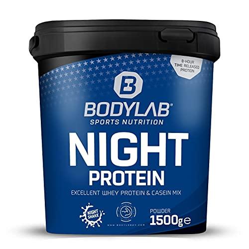 Bodylab24 Night Protein 1500g Buttermilch-Limette, Whey-Protein und Casein, langanhaltende Protein-Versorgung über die Nacht, fett- und kalorienarm, Whey-Pulver kann den Muskelaufbau unterstützen