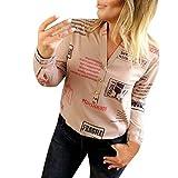 Camiseta para Mujer, Camisa de Manga Larga con Botones y Cuello en V Top Letter Print ImpresióN T Shirt Casual BotónPrimavera Blusa Oficina Moda T-Shirt Sudadera riou