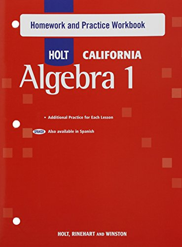 Holt Algebra 1: Homework and Practice Workbook Algebra 1