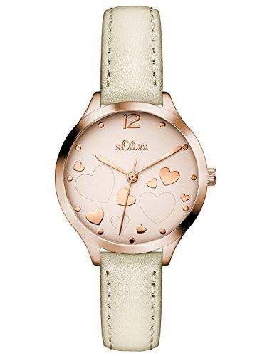 s.Oliver Damen Analog Quarz Uhr mit Leder Armband SO-3244-LQ