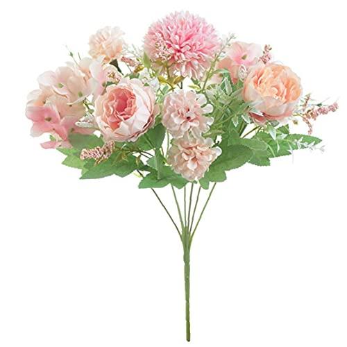 Berrywho Arreglos con Flores Artificiales Flor del Hydrangea Ramo Falso Peony Flores Artificiales para la Boda Ramo Inicio Jardín Decoración de la Mesa