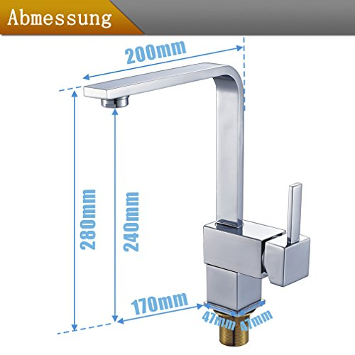 Auralum® Armatur Einhebel Wasserhahn Waschtischarmatur Wasserfall Waschbecken Bad Küche - 7