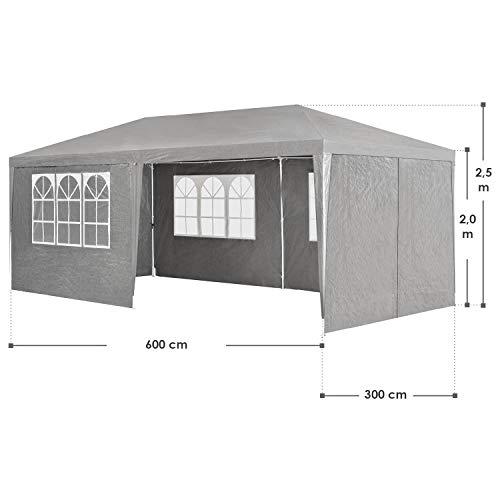 ArtLife Partyzelt 3x6 m grau mit 6 Seitenwände – Pavillon wasserabweisend & stabil – Festzelt für Garten, Terrasse, Party - Bierzelt - 2