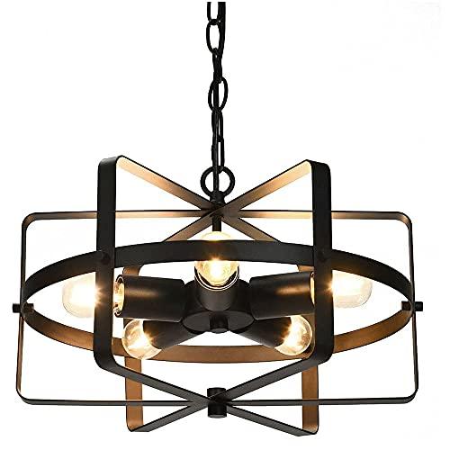 GKLHC Lámpara de Techo Industrial de 5 Luces, iluminación de Hierro, Forma de Tambor de Metal, lámpara Colgante Industrial para Granja, Entrada, Comedor, Isla de Cocina