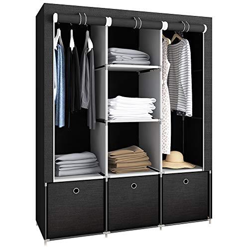 GHQME Kleiderschrank Faltschrank Stoffschrank mit 3 Schubladen, Textil Garderobe Schrank Campingschrank mit Kleiderstange und Fächern (Schwarz, 125 x 44 x 162 cm)