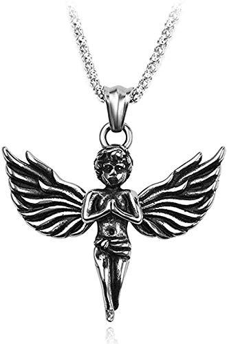NONGYEYH co.,ltd Collar Collar Crystal Boy Querubín Alas Colgante Collar Amuleto Disparar Cupido Amor Dios Cruz Hip-Hop Collar de Encanto Masculino Joyería de Cadena Larga