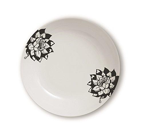 Excelsa Magatama Assiette Creuse, Porcelaine, Noir, 21,5 x 21,5 x 4 cm