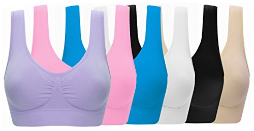 ohlyah Women's Seamless Wire-Free Bra with Removable Pads Pack of 6 L