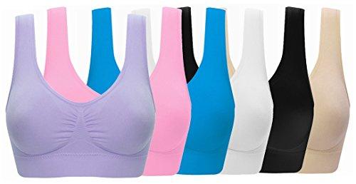 Women's Comfort Workout Sports Bra Low-Impact Activity Sleep Bras Pack of 6 3XL