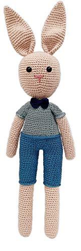 LOOP BABY - gehäkelter Hase aus 100 % Bio-Baumwolle - beige Hasenpuppe mit blauer Latzhose - 38 cm - Baby-Geschenk - Ostergeschenk für Baby-Mädchen...