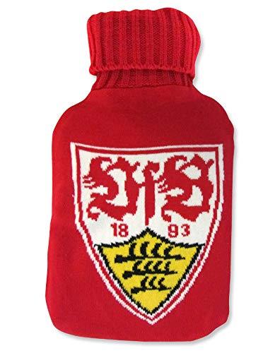 VfB Stuttgart Wärmflasche/Bettflasche weiß-rot gestrickt mit Logo Baumwolle Fanartikel