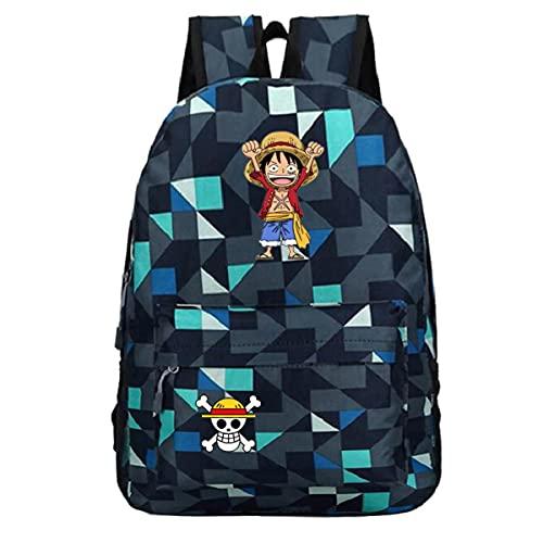 BKHNHUG Nuevo anime-Mochila con patrón de una pieza Mochila escolar para estudiantes Bolsa deportiva Bolsa de viaje al aire libre-Patrón azul diamante 7, Talla única