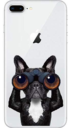 Art Design Hülle für iPhone 7+ Plus/iPhone 8+ Plus Schwarzweiss-H& der französischen Bulldogge mit Ferngläsern Soft Silikon