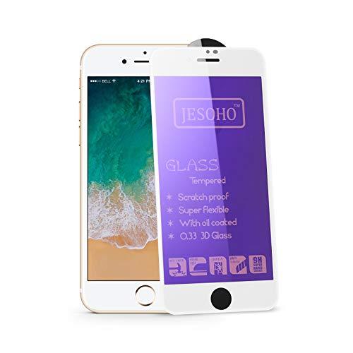 JESOHO Protector Pantalla para iPhone 6/6S/7/8 blanco(2packs) anti luz azul cristal templado, cobertura completa, toque 3D, dureza 9H, borde 3D, borde a borde,anti-rayado, anti-huella digital