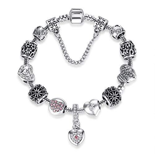 Gymqian Amor Crystal Charms Pulsera Brazalete Bangle Flower Beads con Cadena de Serpiente Plateada para Mujer Girl Gift Desgaste diario / 20cm