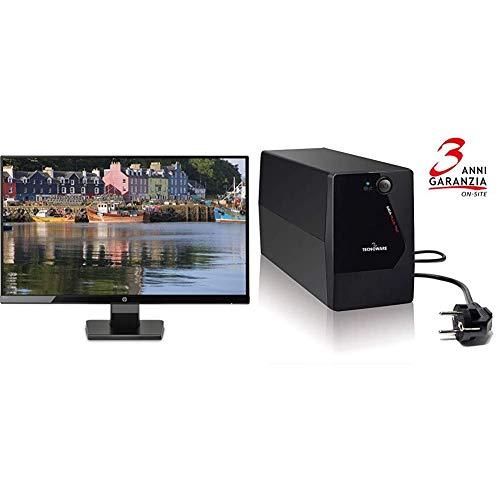 HP 27W Monitor per PC Desktop, 27' (68,5 cm), 5 ms, Full HD (1920x1080) & Tecnoware UPS ERA Plus 750, Potenza 750 VA, Autonomia fino a 10 min con 1 PC o 40 min con Modem Router, Stabilizzazione AVR
