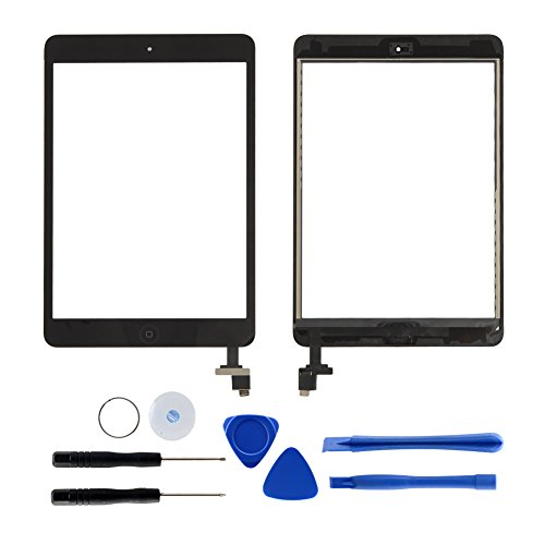 Dazone für iPad Mini 1 2 Touchscreen Digitizer Ersatz Glas Display Bildschirm mit IC Chip Home Button und Werkzeug (Schwarz)