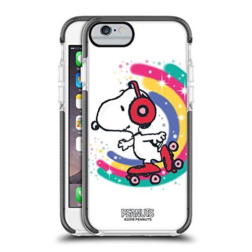 Head Case Designs Ufficiale Peanuts Skating Colorato Snoopy Passeggiata Aerografata Custodia Bumper in Gel Nera a Prova di Urti Compatibile con Apple iPhone 6 / iPhone 6s
