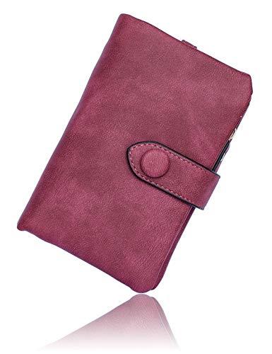 Conisy Portafoglio Donne di Blocco RFID in Cuoio Morbido, Elegante Compatto Portatile Corto Borsellino per Signore (Fucsia)