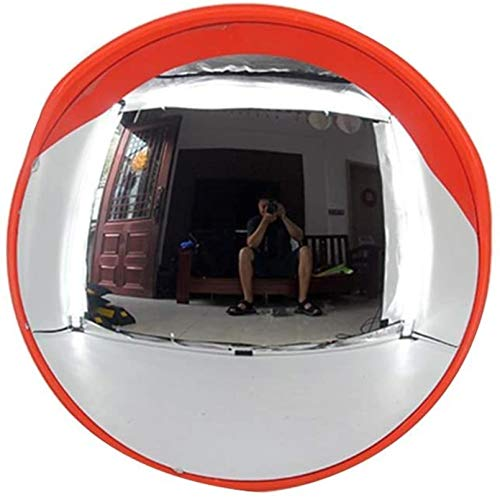 DIELUNY Traffic Mirror Traffic Mirror Convex Safety Mirror Round Outdoor Traffic Wide Angle Road Mirror Orange Expand Vision for Road Users