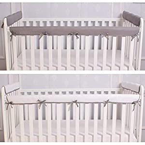 CaSaJa 3 Pieces Reversible Microfiber Crib Rail Cover Set for 1 Front Rail and 2 Side Rails, Soft Batting Inner for Baby Teething Guard, Gray or White, Fits Up to 8 inches Around or 4 inches Folded