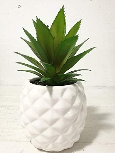 Planta suculenta artificial en maceta de porcelana, con forma de piña, 19,8 cm, para la decoración del hogar y el jardín.