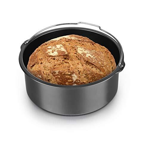 GOURMETmaxx Brotbackkorb 1 Liter in Anthrazit für die Heißluft-Fritteuse | für Brot, Kuchen, Aufläufe | Antihaftbeschichtung gegen Anbrennen | mit praktischem Henkel, Spülmaschinen geeignet [Eisen]