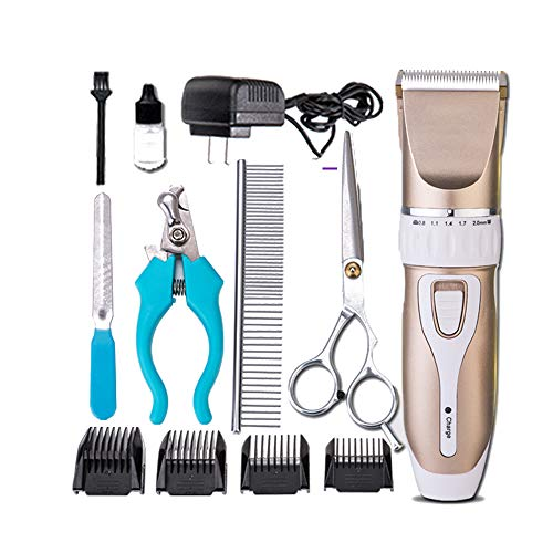CLLPet Grooming Clipper Kits Low Noise Dog and Cat Rechargeable Cordless Electric Queit Clippers Set,Guide Comb 4,Charging and plugging in