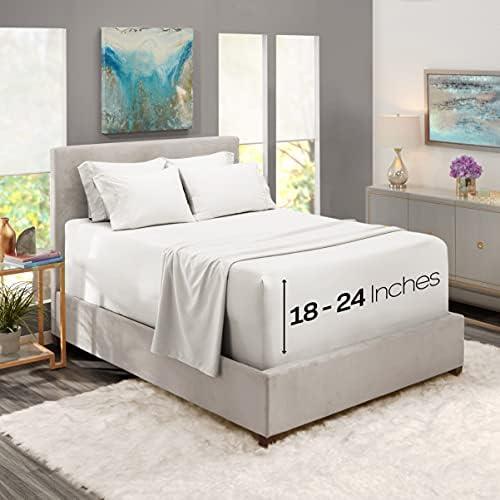 Nestl Extra Deep Pocket Sheets – White Deep Pocket Queen Size Sheet – Hotel Deep Bed Sheets – Deep Fitted Sheet Set – Super Deep Sheets fits 18 Inch to 24 Inches Mattress 6 Piece Queens Deep Sheet Set