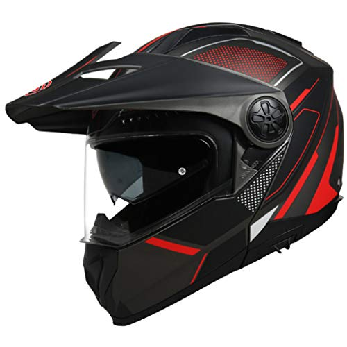 XRQ Motocross-Helm, Motorradhelm, Rennsport, Integralhelm, Doppellinse, Persönlichkeit, Universalsaison, Antibeschlag, Männer und Frauen, Kopfumfang (54-63 cm),Rot,XXL