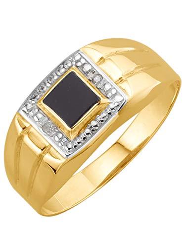 KLiNGEL Herrenring mit Onyx und Diamanten Schwarz