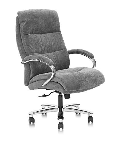 CLATINA Ergonomic Big & Tall Executive Office Chair with Fabric Upholstery 400lbs High Capacity Swivel Adjustable Height Thick Padding Headrest and Armrest for Home Office Gray