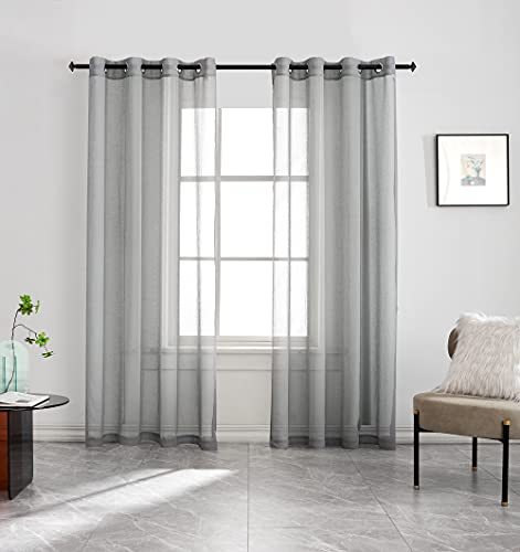 Window Curtain Panels, Gray Boho Sheer Closet Grommet Curtain for Bedroom , Kitchen, Patio, Linen Texture Small Living Room Divider Voile Curtains Sheers with Panels 63 Set of 2 Keep Privacy