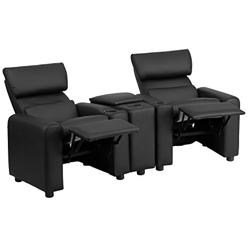Flash Furniture BT-70592-BK-LEA-GG Kid's Black Leather Reclining Theater Seating with Storage Console