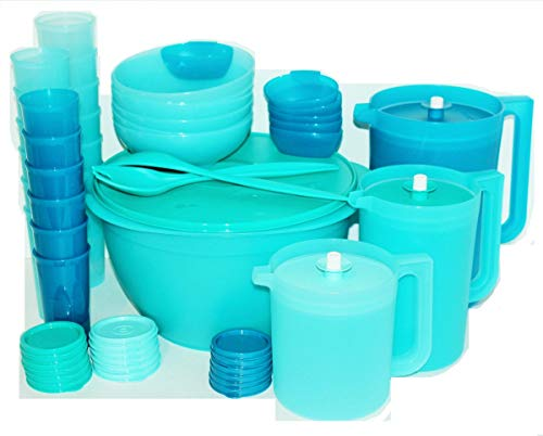 Tupperware Bowls, Pitchers and Cups Exclusive Celebration Complete Serving Set in Blue