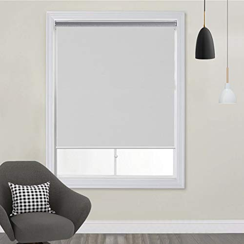 TFSKY Blackout Shades for Bedroom Cordless Roller Blinds and Shades for Windows Blackout Window Blinds for Indoor & Outdoor Use, UV Protection with Spring System White, 27x72