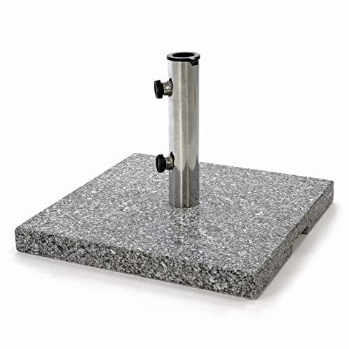 Nexos Sonnenschirmständer 25kg polierter Granit Edelstahl eckig 45 x 45 cm Schirmständer mit Griffmulden und Reduzierringen für Schirme bis 3m Durchmesser geeignet