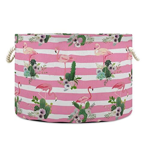 Cestos de almacenamiento de lona rosa flamenco Cactus a rayas cesta redonda de juguete cesta organizadora de lavandería cesta de almacenamiento con asa 2020012