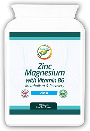 Beauty Bits - Zinc, Magnesium and Vitamin B6 - ZMA, Mineral Supplement, 120 Tablets, Made in UK (Boosts Immune System, Helps for Muscle Recovery, Better Quality Sleep and Improved Testosterone Levels)