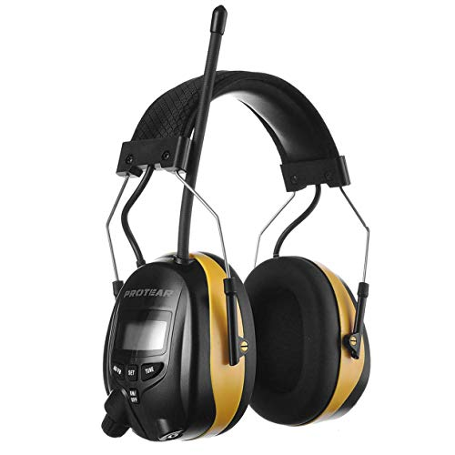 PROTEAR Digital AM FM Radio Headphones, 25dB NRR Ear Protection Safety Ear Muffs, Noise Reduction Hearing Protector for Lawn Mowing and Landscaping(Yellow)