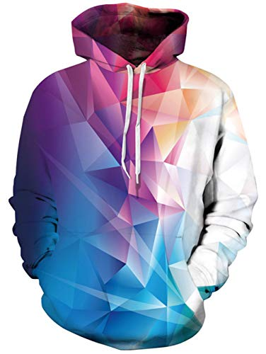 TUONROAD Men's 3d Digital Printing Hoodies Tshirt Colorful Geometry Pattern Turquoise Maroon Athletic Big and Tall Hooded Pull Over Sweatshirts for College Juniors School Sport Gym Basketball Baseball